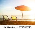 pair of beach loungers on... | Shutterstock . vector #171701795