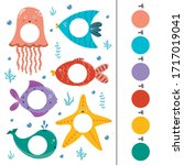 sea animals color matching game ... | Shutterstock .eps vector #1717019041