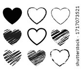 hearts symbol set isolated... | Shutterstock . vector #1717073521