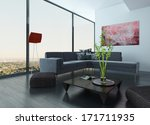 Living Room Interior With Red...