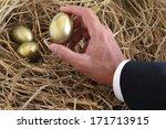 Businessman Holding Golden Egg...