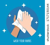 clean hands with wet wipes to... | Shutterstock .eps vector #1717150144