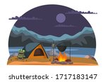 camp on nature with beautiful... | Shutterstock .eps vector #1717183147
