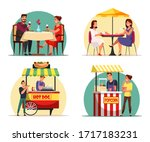 people eating food at cafe and... | Shutterstock .eps vector #1717183231