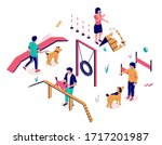 dog trainers teaching pet dogs... | Shutterstock .eps vector #1717201987