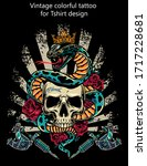 vintage colorful tattoo concept ... | Shutterstock .eps vector #1717228681