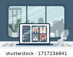 employees are working from home ... | Shutterstock .eps vector #1717236841