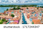 Aerial View Of Colorful Burano...