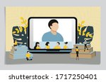 online video conference. people ... | Shutterstock .eps vector #1717250401