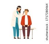 cartoon female otolaryngologist ... | Shutterstock .eps vector #1717280464