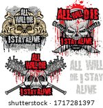 set  gothic sign with skull ... | Shutterstock .eps vector #1717281397