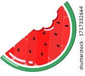 bitten slice of watermelon with ... | Shutterstock .eps vector #1717332664