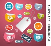 vector set of colorful retro... | Shutterstock .eps vector #171733541