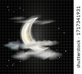 realistic detailed moon with...   Shutterstock .eps vector #1717341931