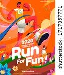 lively cross country running... | Shutterstock .eps vector #1717357771