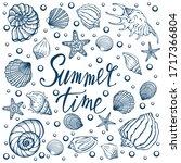 seashells  summer  holidays ... | Shutterstock .eps vector #1717366804