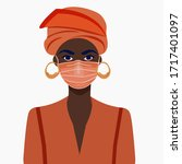 african american girl in face... | Shutterstock .eps vector #1717401097