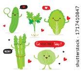 set of vegetable green color... | Shutterstock .eps vector #1717410847