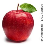 Red Apple With Green Leaf On...