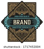 vintage label with gin liquor... | Shutterstock .eps vector #1717452004