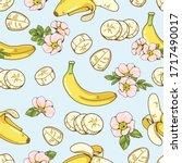 seamless pattern of cute banana ... | Shutterstock .eps vector #1717490017
