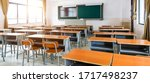 Empty Modern Classroom With...