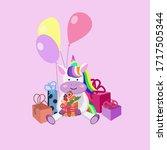 cute unicorn celebrates...   Shutterstock .eps vector #1717505344