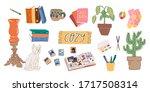 cozy weekend big set. luxurious ... | Shutterstock .eps vector #1717508314