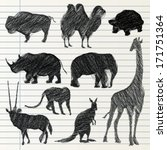 hand drawn animal collection | Shutterstock .eps vector #171751364