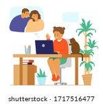 family videoconference. online...   Shutterstock .eps vector #1717516477