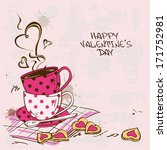 Vintage Valentine's greeting card with pair of teacups and cookies