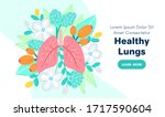 vector healthy lungs on flowers.... | Shutterstock .eps vector #1717590604