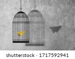 Small photo of Freedom Concept : Abstract image of Yellow paper plane flying escape out of birdcage.