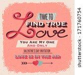 valentines day retro style...   Shutterstock .eps vector #171760754