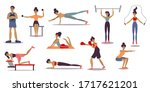 set of male and female trainers ... | Shutterstock .eps vector #1717621201