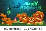 halloween green text on a blue...   Shutterstock .eps vector #1717628464