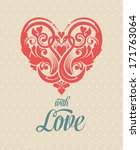 Abstract Heart Background for Valentines Day Card. Floral Pattern with Swans. Symbol of Love.