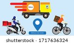 delivery service flat... | Shutterstock .eps vector #1717636324