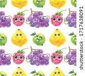 cute kids  seamless watercolor... | Shutterstock . vector #1717638091