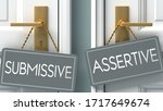 assertive or submissive as a choice in life - pictured as words submissive, assertive on doors to show that submissive and assertive are different options to choose from, 3d illustration