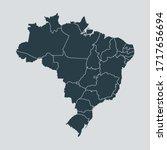 brazil map vector  isolated on... | Shutterstock .eps vector #1717656694