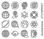 earth globe icons set on white... | Shutterstock .eps vector #1717699957