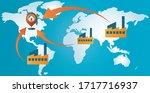 reshoring concept. factories... | Shutterstock .eps vector #1717716937