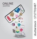 shopping online on website or... | Shutterstock .eps vector #1717731487