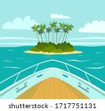 the boat approaches a tropical ...   Shutterstock .eps vector #1717751131
