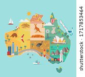 map of australia. colorful...   Shutterstock .eps vector #1717853464