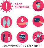 flat vector icon set for safe... | Shutterstock .eps vector #1717854841