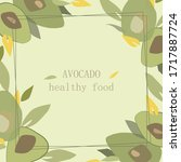 vector frame with avocado and... | Shutterstock .eps vector #1717887724
