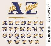 alphabet with laurel wreath.... | Shutterstock .eps vector #1717898347