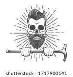 human skull with mustache and... | Shutterstock .eps vector #1717900141